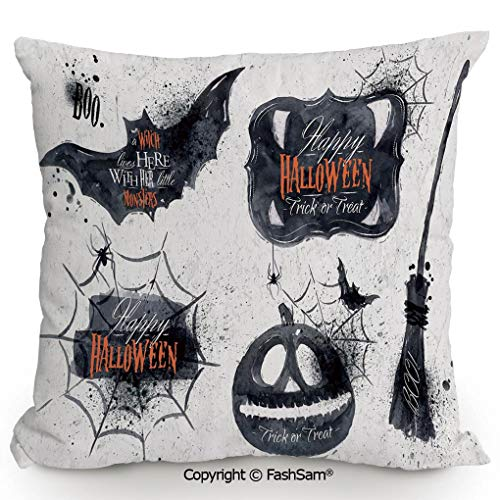 FashSam Polyester Throw Pillow Cushion Halloween Symbols Happy Holiday Witch Lives Here Broomstick Spider Web Decorative for Sofa Bedroom Car Decorate(20