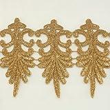 Annielov #273 - Pizzo dentellato a metraggio, per modisteria, vestito ed accessori da sposa, fascia per capelli da bimba, per scrapbook, colore: oro metallizzato
