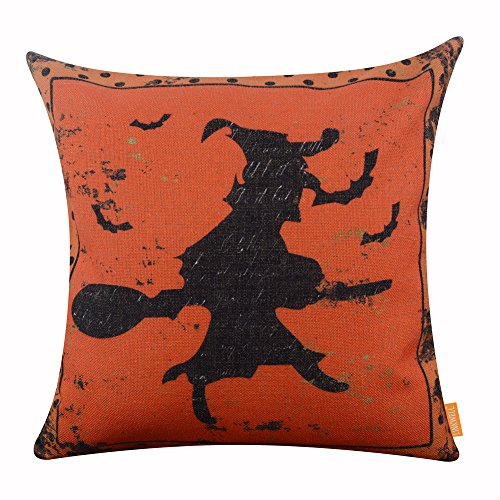 [LINKWELL 18x18 inches Happy Halloween Orange Old Witch on Mop Burlap Throw Cushion Cover Pillowcase] (Hallowe En Costumes Ideas)