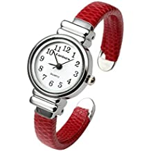 Top Plaza Kids Girls Casual Chic Simple Arabic Numeral Bangle Cuff Watch for Small Wrist,Beautiful Birthday Gift,Red