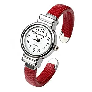 Top Plaza Kids Girls Casual Chic Simple Arabic Numeral Bangle Cuff Bracelet Analog Quartz Watch for Small Wrist,5.5 Inches,Red