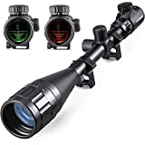 E-link Hunting Rifle Scopes 6-24x50 AOEG Red&Green Illuminated Airsoft Gun Scopes For Coyote Hunting Spotting Scopes With Optics Gun Scope Len Covers 2Sniper Rifle Scope Mount 1 inch Accessories