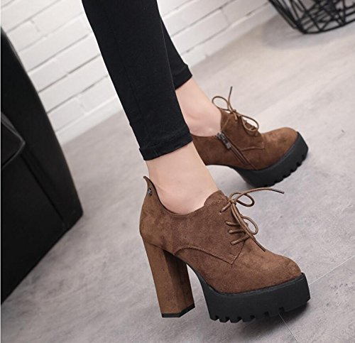 With Tether With The Brown 11Cm Of Boots And KHSKX Side High New The Head Korean Round And A Boots Bare Ultra Winter Thick Strap The Zipper Boots Autumn Water 37 Female Resistant Version W8S8vn