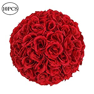 "Z ZTDM 10 Pack 10"" Artificial Satin Flower Ball Bouquet Kissing Ball Rose Flower for Wedding Party Ceremony Decoration Centerpieces (Wine Red)"