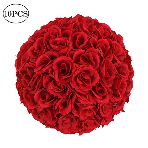 Estink 10 Pack Artificial Flower Ball, 10 Inch Wedding Satin Flower Ball for Bridal Wedding Artificial Wedding Party Ceremony Decoration (Wine Red)