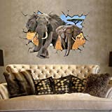 EMIRACLEZE Christmas Gift Africa 3d Style Elephant Vivid Removable Mural Wall Stickers Wall Decal for Children Bedroom Home Decor