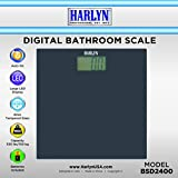 Harlyn BSD2400 Digital Body Weight Bathroom Scale - Tempered Glass - Elegant Black - Step-on Technology - 330 lbs max weight