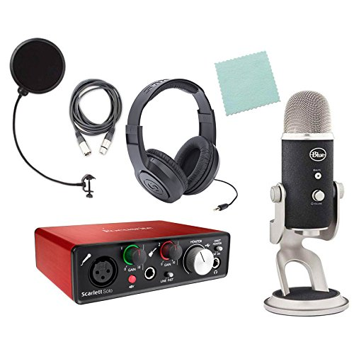 Focusrite Scarlett Solo (2nd Gen) Blue Yeti Pro Home Studio Package with Pop Filter, Headphones and XLR Cable