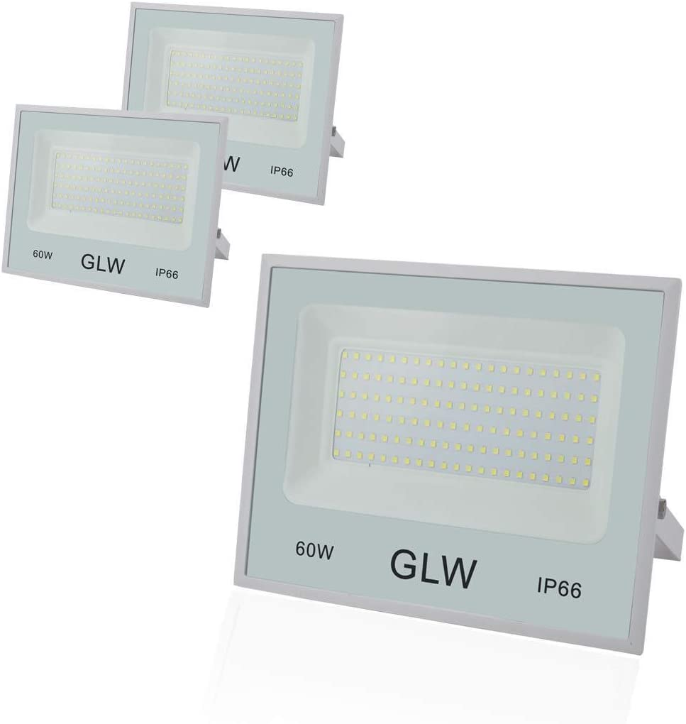 GLW LED Flood Lights 60W 3 Pack, 6000lm Super Bright Floodlight, IP66 Waterproof Work Light with Plug, 6000K White Light for Garden, Backyard, Security Lights Outdoor Spotlight