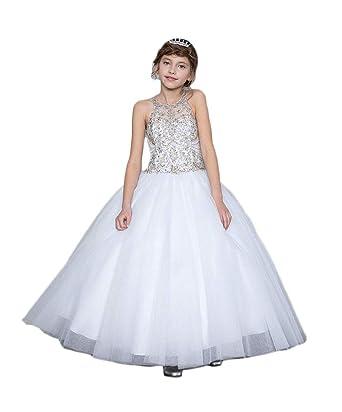 94479b70f Amazon.com  Gigi s Classy Kids Flower Girls White First Communion ...