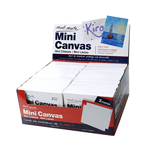 Mont Marte Mini Canvas 8x10cm, Stretched Small Canvas& Primed Plastic Frame 2pcs Shrinked- 36 Pack, Ideal for Miniature Paintings and Place Cards