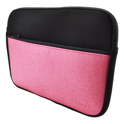 caseen PLUSH Tablet Sleeve Case Cover (Black/Pink Metallic) For Most 8.9