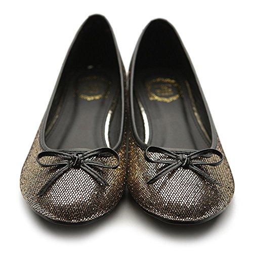 Ollio Womens Ballet Shoe Round Toe Glitter Comfort Multi Color Flat Gold rMBTRiBvG