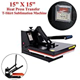 PanelTech Sublimation Machine Black Heat Press Machine Digital Clamshell Heat Press Transfer for T-shirt (15'' x 15'')