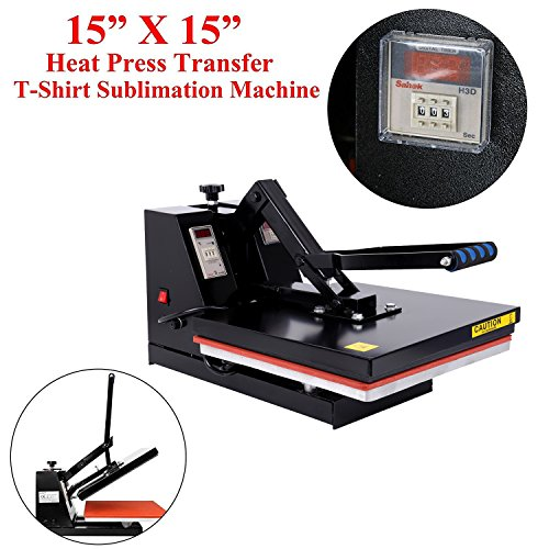 PanelTech Sublimation Machine Black Heat Press Machine Digital Clamshell Heat Press Transfer for T-shirt (15'' x 15'') by PanelTech