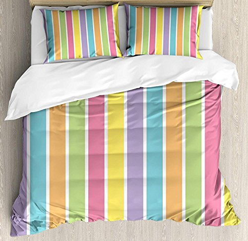 (DaringOne Colorful Duvet Cover Set King Pastel Colored Striped Summer Pattern Funky Cheerful Rainbow Inspired Traditional Bedding Set 4 Piece Lightweight Bed Comforter Covers Includes 2 Pillow Shams)