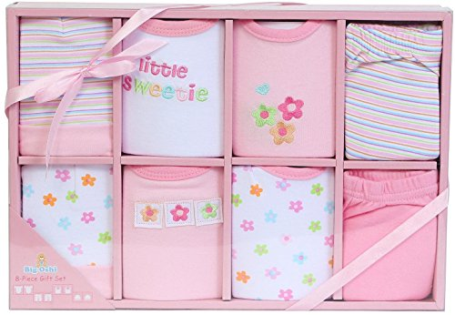 Big Oshi Baby 8-Piece Layette Gift Set, Pink, 0-6 Months