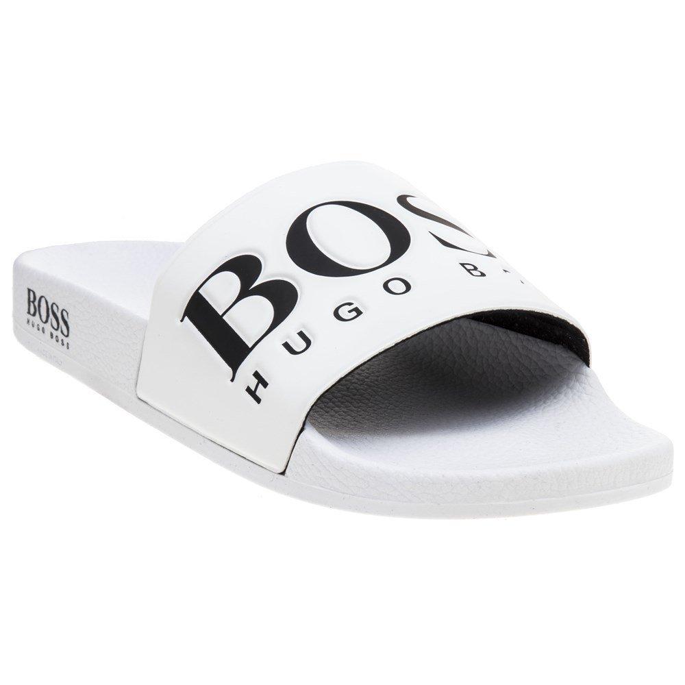 Hugo Boss Mens Solar_Slid_Logo Sliders in White