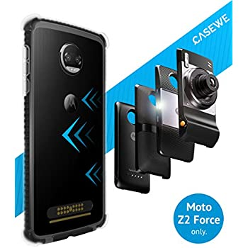 CaseWe - Motorola Moto Z2 Force Protective Bumper Case Cover/Compatible with Moto Mods - Clear & Matte Black