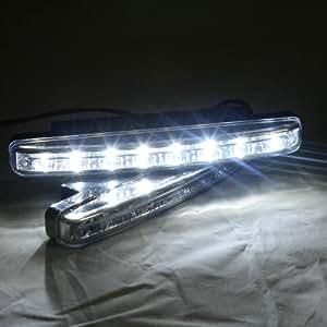 THG DRL 2x 8 LED 6000K Xenon White Euro Style Power Daytime Running Light Driving Lamp Bracket Kit Universal Fit 12V Car Vehicle SUV