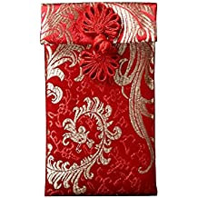 Red Silk Coin Envelopes for New Year, Wedding and Birthday Gift, Jewelry Bag For Storage