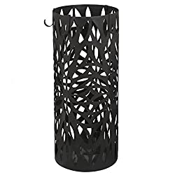 ZENY Metal Umbrella Stand Rack Entryway Modern Free Standing for Canes/Walking Sticks W/ 4 Hooks, Drain Tray
