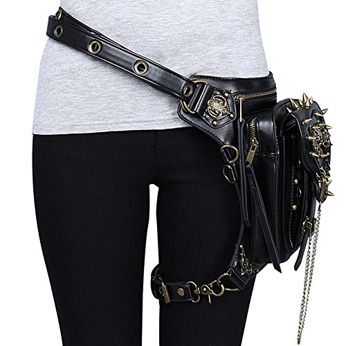 Style Black Retro Pocket Vintage Messenger Patented Product Ladies Gy Bag Motorcycle Shoulder Steampunk qwBRzB