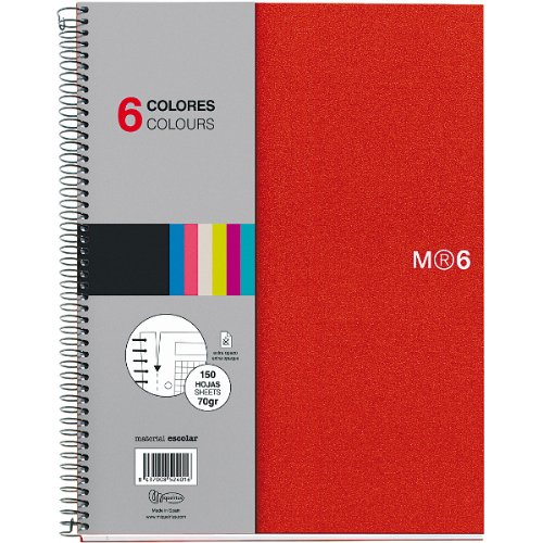 Miquelrius 6 x 8 A5 Wirebound Notebook, 6-Subject, Graph Paper, Red