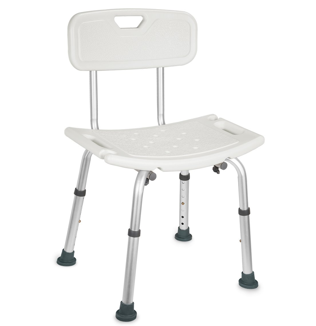 Marine Moon, Adjustable Shower Chair with Handles and Removable Back, Collapsible Shower Seat, Tool-Free Assembly, White