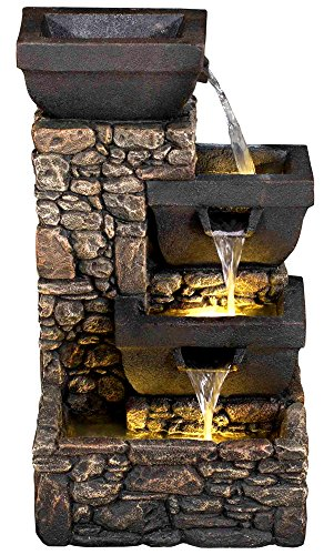 20'' Catania 4-Tier Cascading Waterfall Fountain w/LED Lights: Stone Bowl Outdoor Water Feature for Gardens & Patios. Weather Resistant Hand-crafted Design. HF-B12-20L by Harmony Fountains