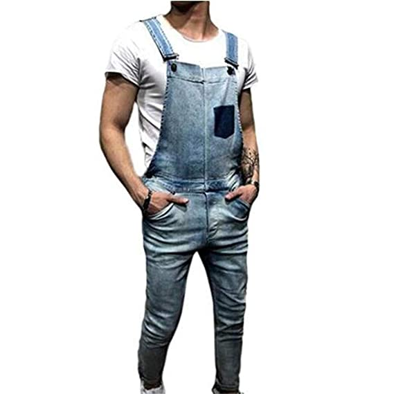 Juqilu Salopette da Uomo in Denim da Lavoro Vintage Salopette Bavaglino e  Bretelle Nero Blu Distrutto Stonewash Regular Fit Jeans Tute  Amazon.it  ... 1ac5b6e4b13