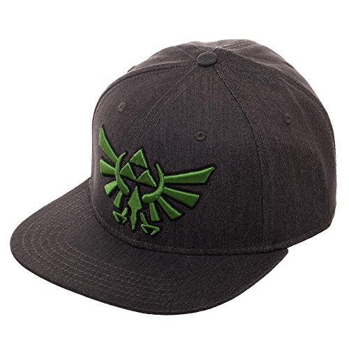 Embroidered Fitted Cap - Embroidered Nintendo Zelda Logo Fitted Flatbill Flex Cap - Baseball Cap/Snapback