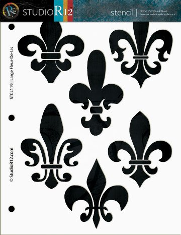 Fleur De Lis Stencil By StudioR12 | French Art Pattern - Medium 8 1/2 x 11-inch Reusable Mylar Template | Painting, Chalk, Mixed Media | Use for Crafting, DIY Home Decor - STCL119_1
