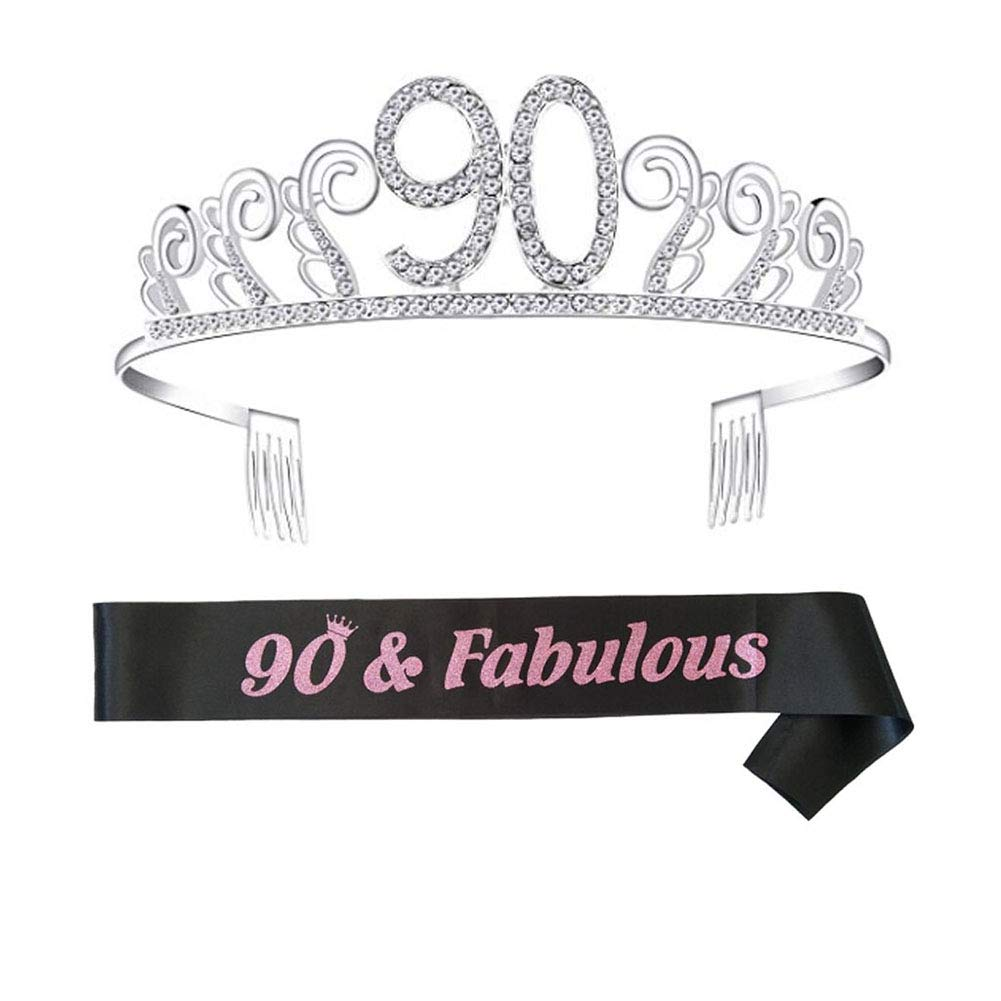 16 Ayioo 16th Birthday Tiara Crown with Shoulder Strap Set for Birthday Party Supplies