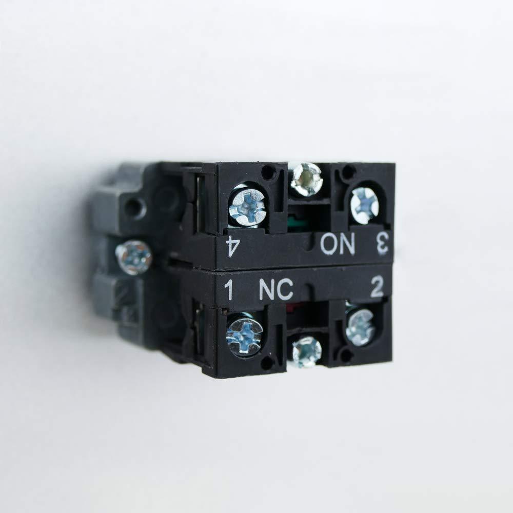 BeMatik Pulsador moment/áneo 22mm 1NO 1NC 400V 10A normal cerrado y normal abierto rojo