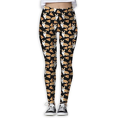 ZGZGZ Women's Cute Dog Pizza Pattern Printed Yoga Pants Workout Capris Lightweight Yoga Leggings -