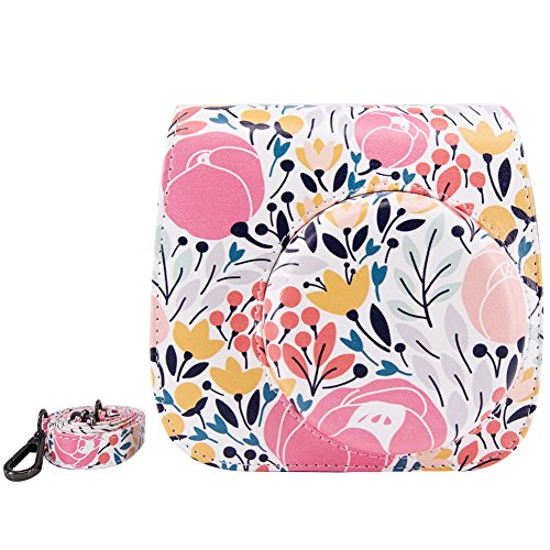 Elvam Classic Printed PU Leather Compact Case with Strap Compatible w Fujifilm Instax Mini 9/8/8+ Instant Film Camera (Small Flower)