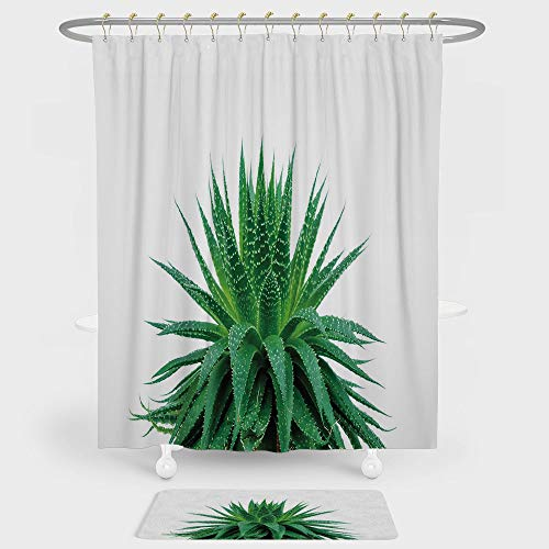 Plant Shower Curtain And Floor Mat Combination Set Medicinal Aloe Vera with Vibrant Colors Indigenous Species Alternative Natural Remedy For decoration and daily use Fern Green