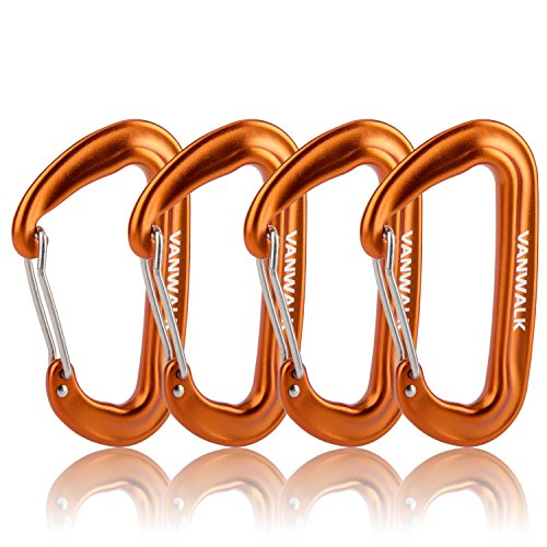 12KN Aluminium Wiregate Carabiners 4 Pack Rated 2645 LBS each – 7075 VANWALK Lightweight Carabiner Clips for Hammock Climbing Rocking (4 orange)