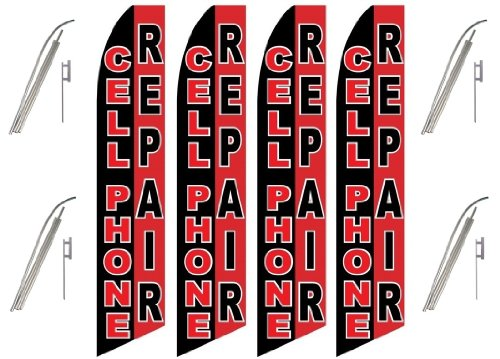 Four (4) Pack Swooper Flags & Pole Kits Cell Phone Repair...