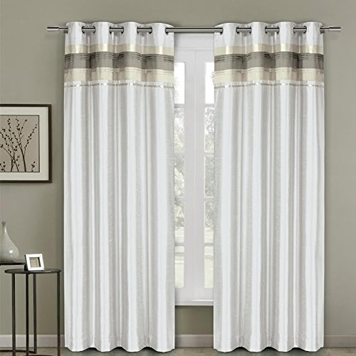 One Top Grommet Blackout Thermal Insulated Curtain Panels, Triple-Pass Foam Back Layer, Elegant and Contemporary Milan Blackout, White, 54' W by 108' L Panel