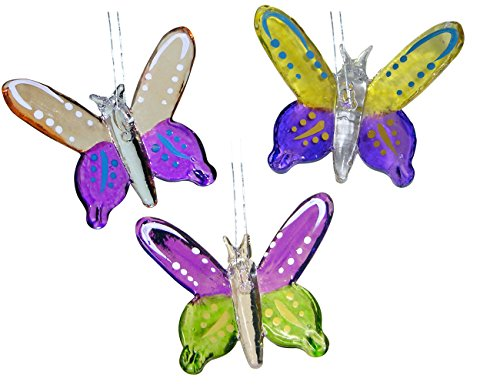 Butterfly Ornaments - Set of 3 Colorful Glass Butterfly Ornaments - Glass Ornaments - Butterfly (Spun Glass Ornament)