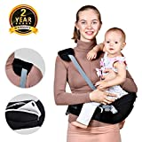 Baby Hip Seat Carrier Waist Stool – Safety Certified Back Pain Relief Soft Carrier (Ergonomic M Position), 100% Cotton for All Seasons, Child Infant Toddler, Perfect Baby Shower Gift Image