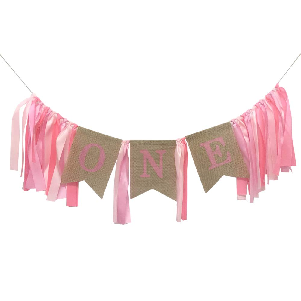 1st Birthday Decorations Banner,Baby Girl's First Birthday Burlap Highchair Banner,Pink Ribbon Decoration Topivot