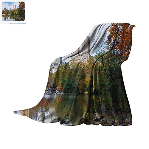 City Warm Microfiber All Season Blanket Manhattan Central Park Panorama in Autumn Scenic Lake View Colorful Trees Reflection Summer Quilt Comforter 90