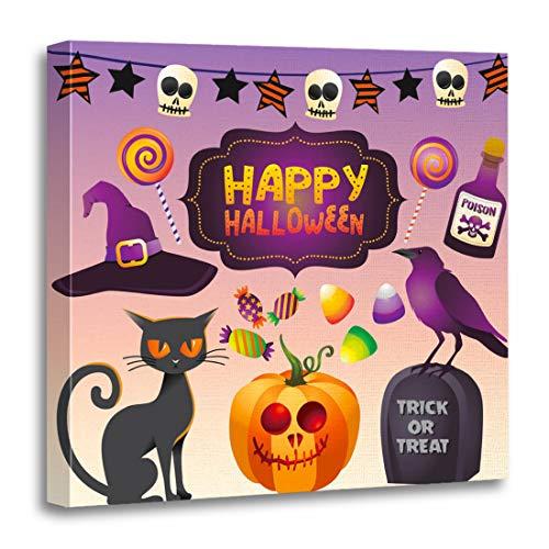 Emvency Canvas Wall Art Print Black Hallowen Halloween Cat Raven Pumpkin Candy Hat Characters Artwork for Home Decor 16 x 16 Inches -