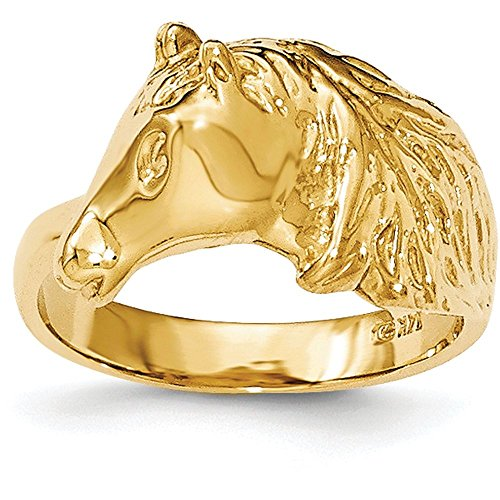14k Yellow Gold Polished Horse Head Ring - Size (14k Horse Head)