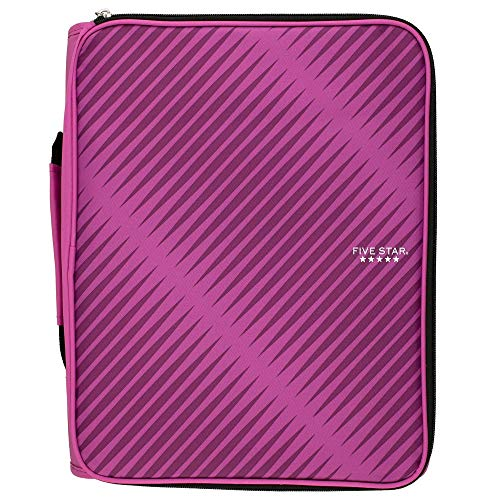 Five Star 2 Inch Zipper Binder, 3 Ring Binder, 6-Pocket Expanding File, Durable, Berry Pink/Purple (72540) ()