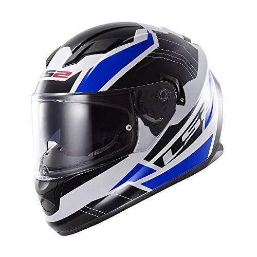 (LS2 Stream Omega Full Face Motorcycle Helmet With Sunshield (Blue, X-Large))