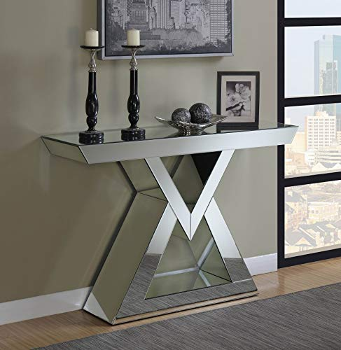 (Coaster Home Furnishings 930009 Coaster Contemporary Triangle Base Silver Console Table with Mirrored Panels,)